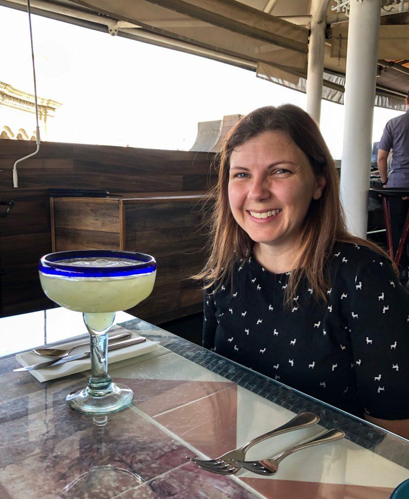 Amber with Birthday Margarita at Gran Hotel Mexico City