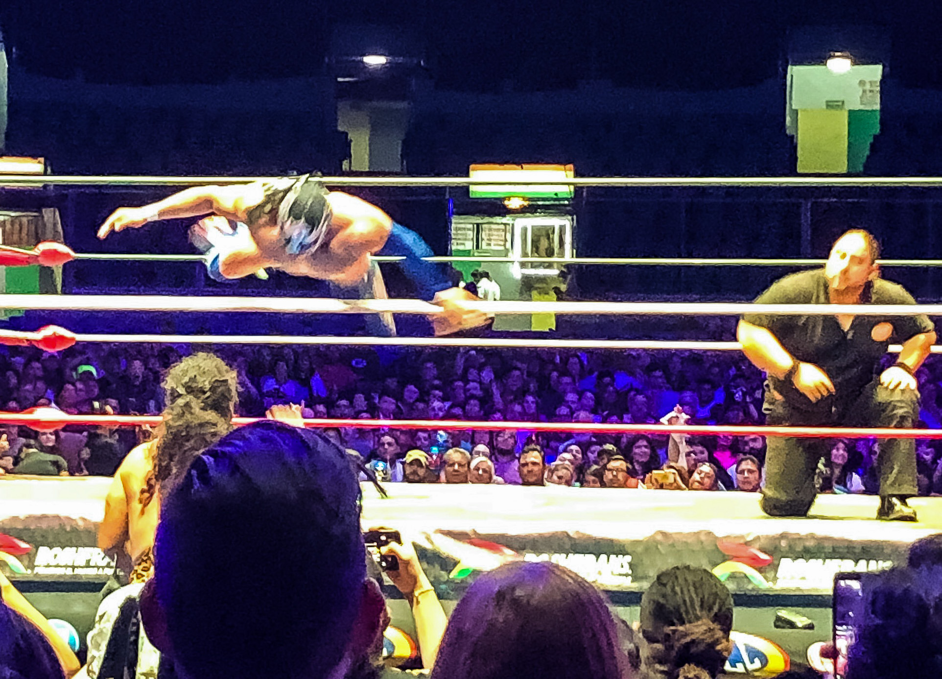 Luchador leaping through ropes at Lucho Libre