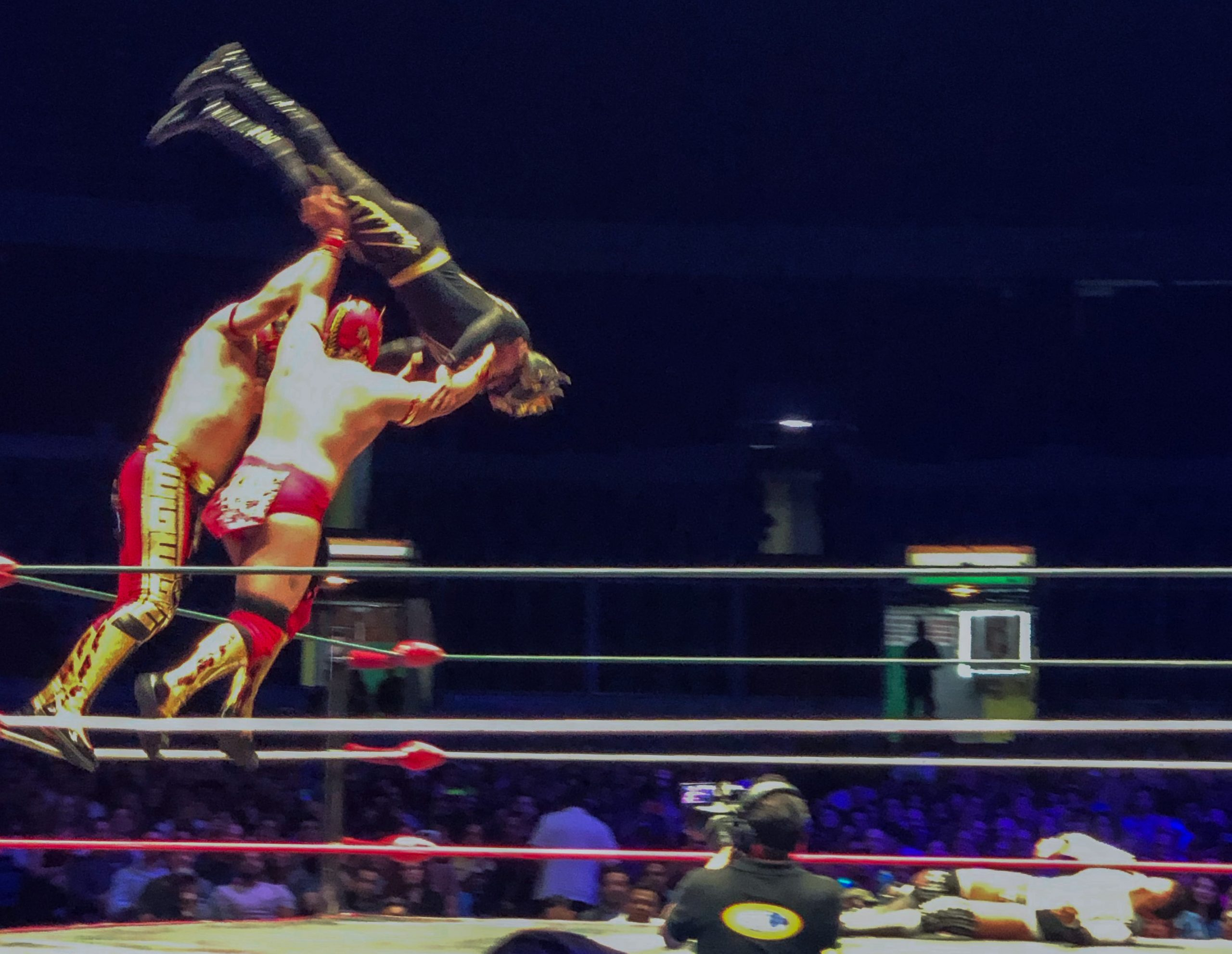 Luchadores throwing opponent