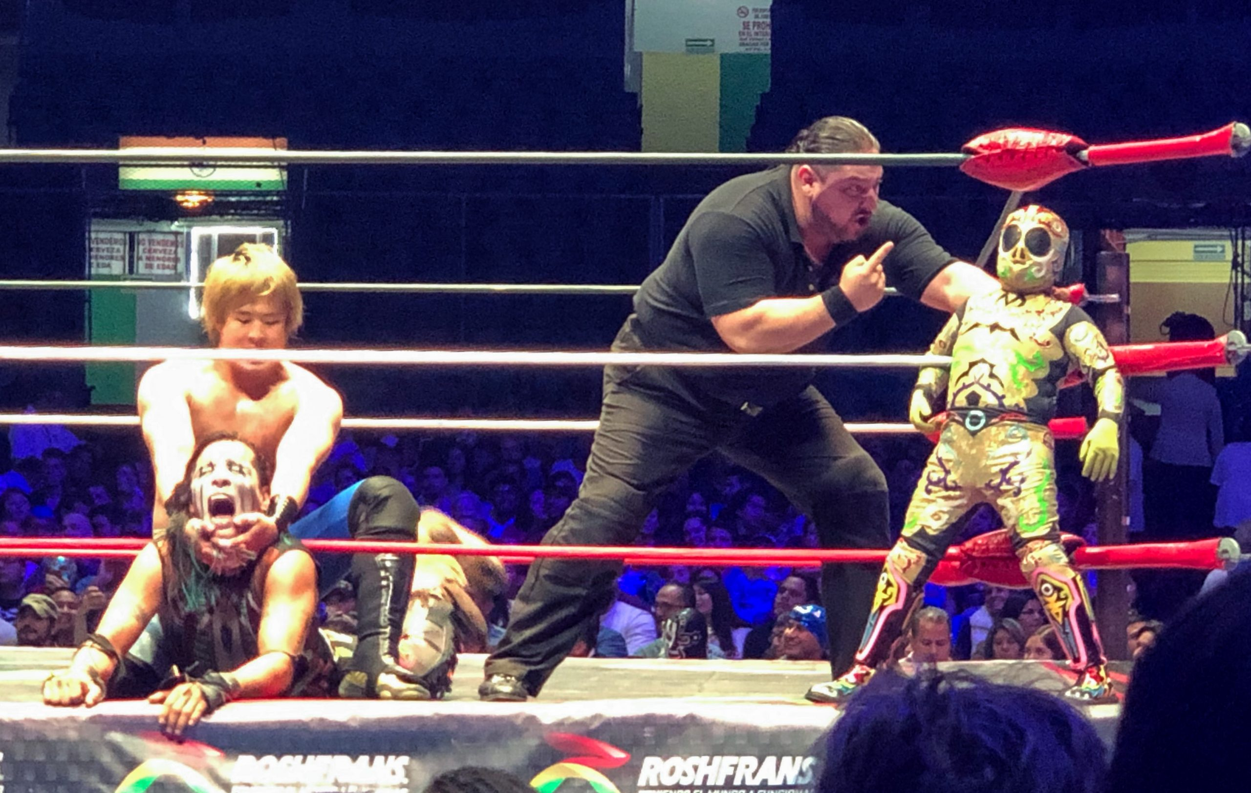 Luchador scolded by official