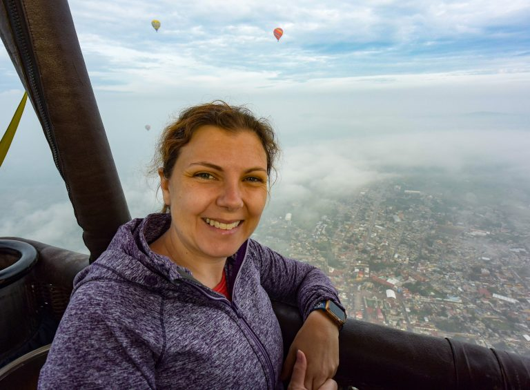 Amber in Hot Air Balloon over Teotihuacan Mexico