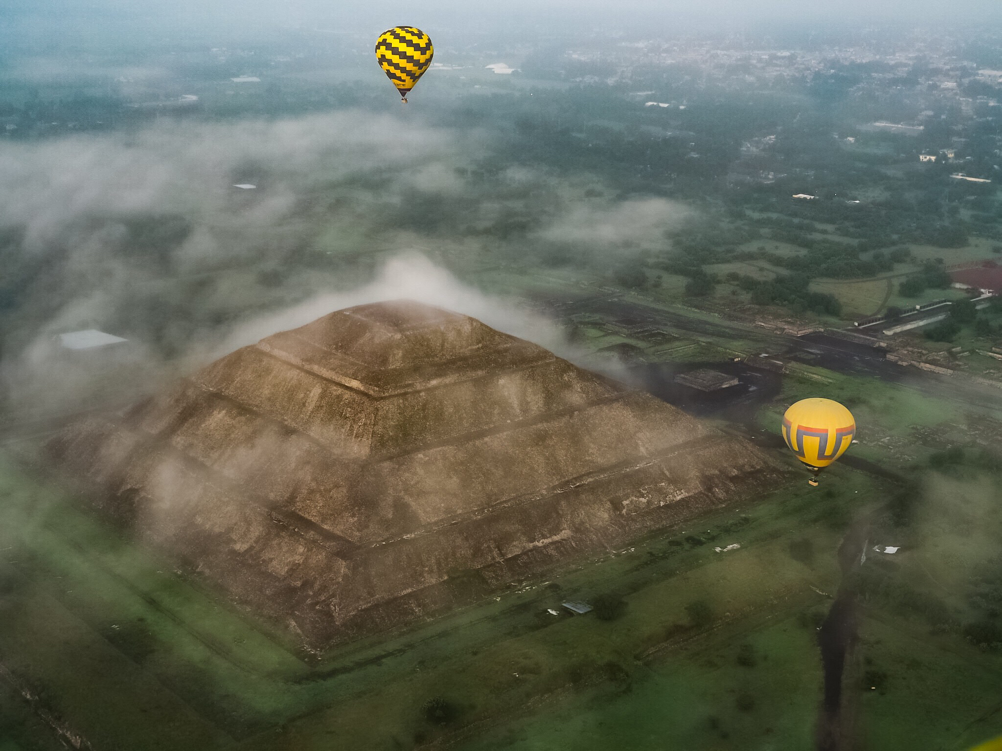 Hot Air Balloons over Teotihuacan Sun Pyraimid