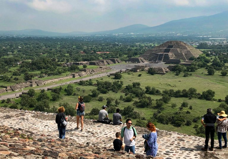 View of Moon Pyramid from the top of Sun Pyramid Teotihuacan