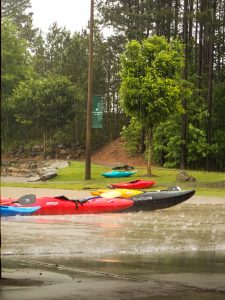 Charlotte Whitewater Center Kayaks in the rain