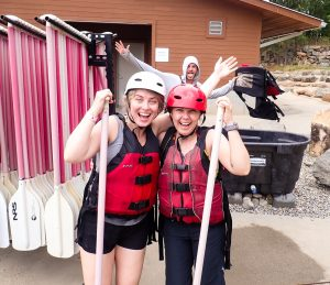 Amber and Desi ready to go rafting