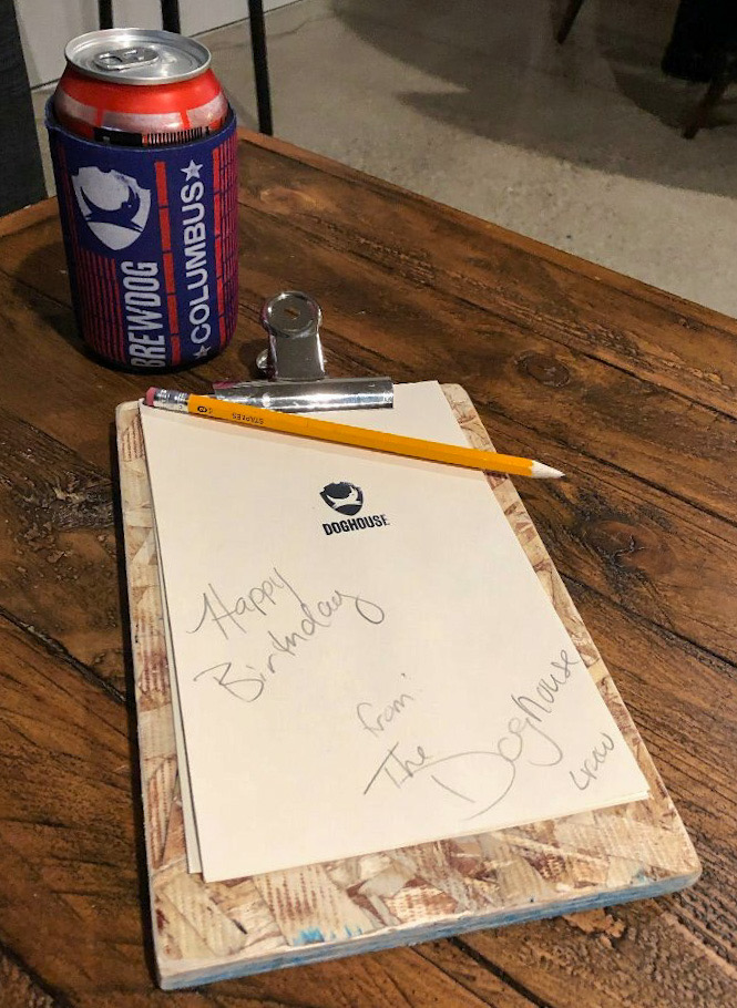 Birthday Note from Doghouse Hotel Columbus