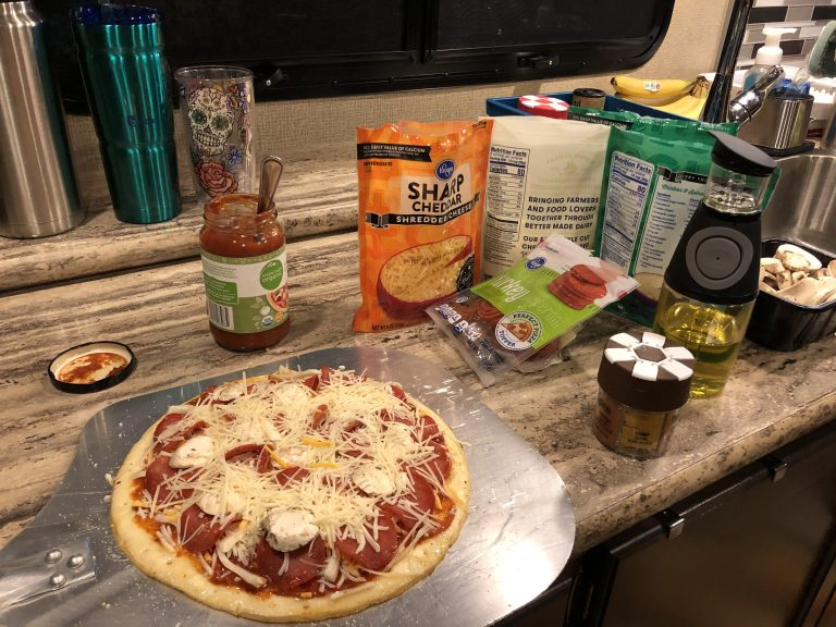 Grill Pizza during Camping Trip