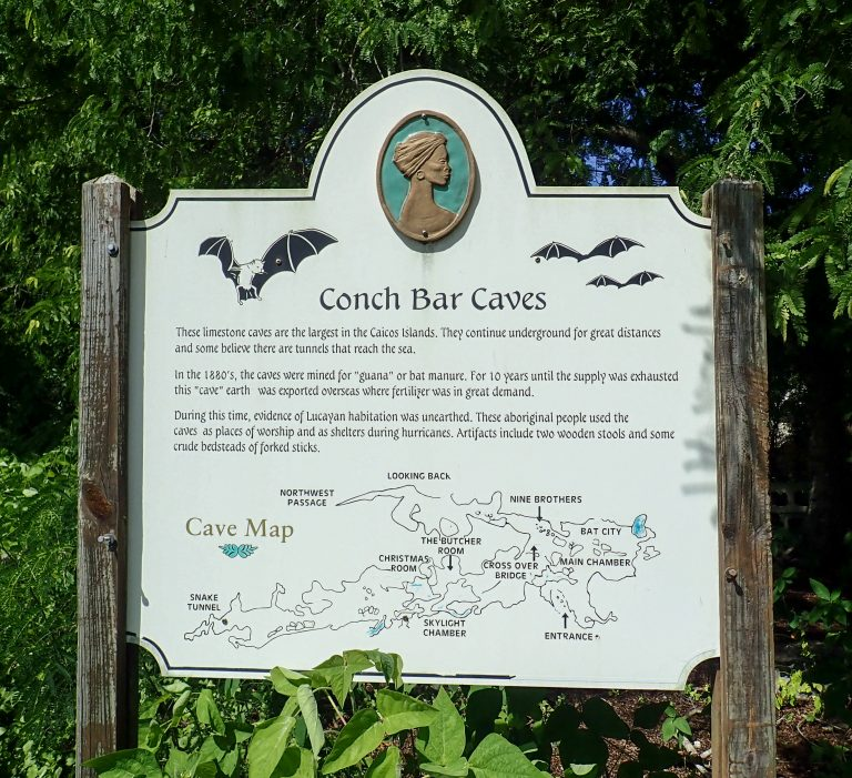 Middle Caicos Conch Bar Caves Sign