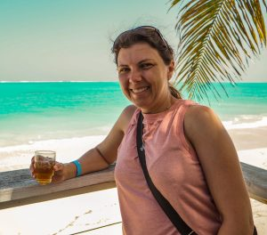 Amber having rum at Barracuda Beach Bar on North Caicos