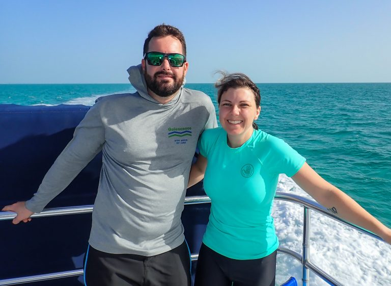 Amber and Chris on dive boat in Turks & Caicos