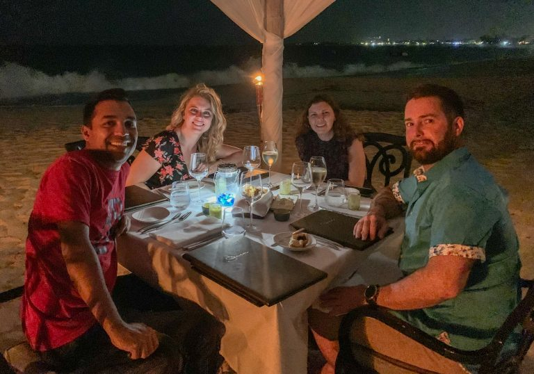 Group beach dinner at Seven Stars Turks and Caicos
