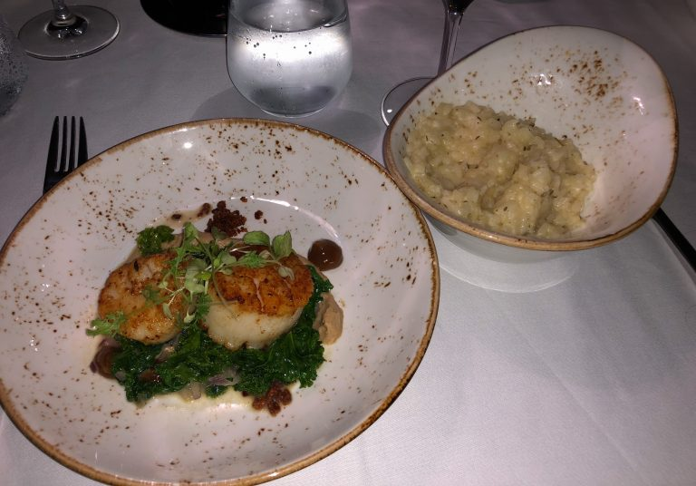 Scallops at beach dinner Turks and Caicos
