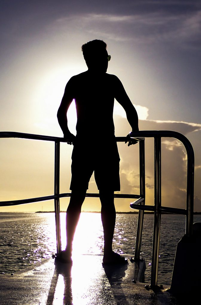 Kib Silhouette on Boat in Turks and Caicos