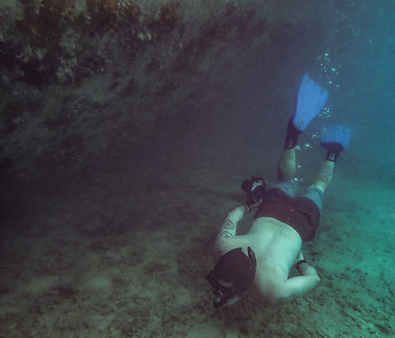 Chris Snorkeling at La Famille Shipwreck in Turks and Caicos