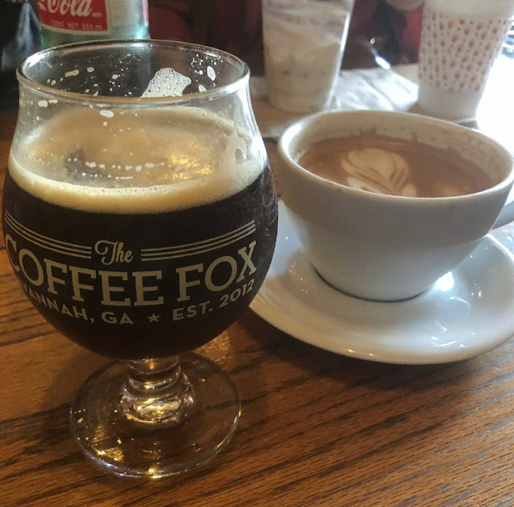 Coffee drinks at the Coffee Fox in Savannah GA