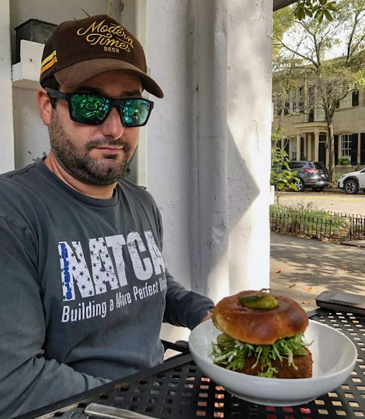 Chris with Veggie Burger at Fox and Fig