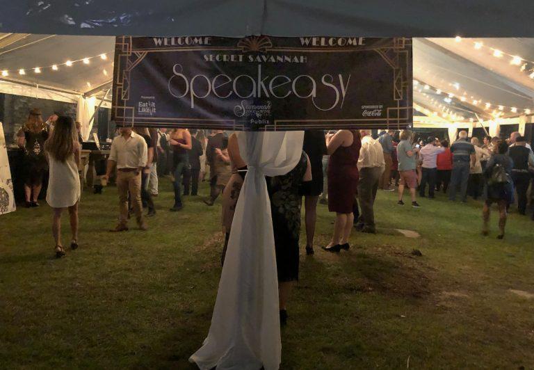 Savannah Speakeasy Sign at Food and Wine Festival;