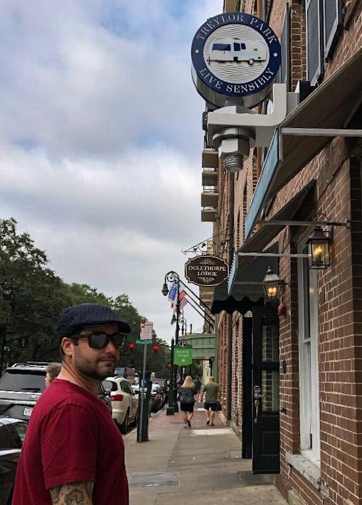 Chris walking up to Treylor Park Restaurant in Savannah