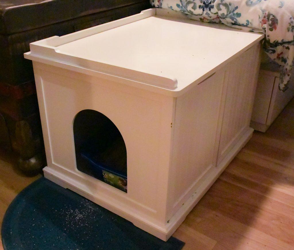 White Cat Litter Box Cabinet