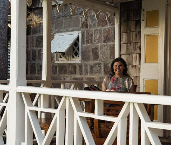 Amber on the patio at The Hermitage Nevis