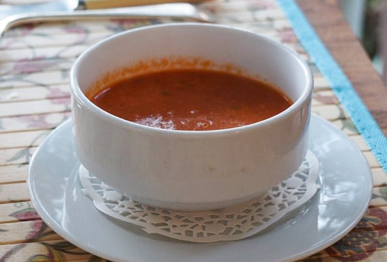 Tomato Bisque at the Hermitage Nevis