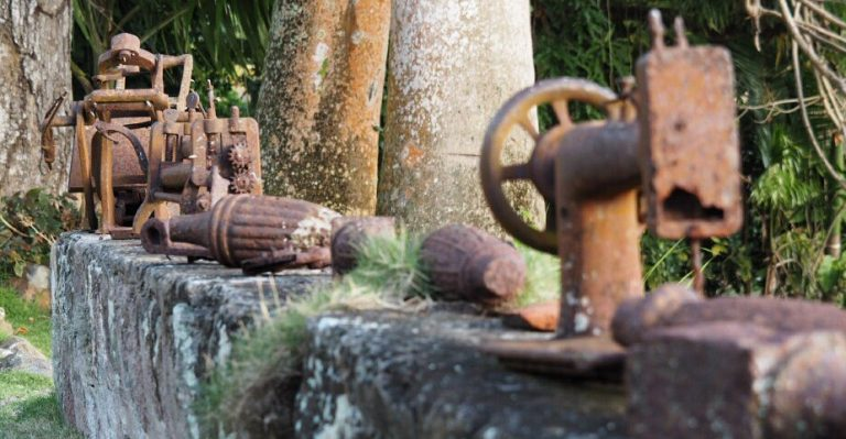 Rusted tools at Hermitage Nevis