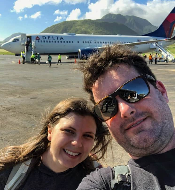 Selfie with the Delta plane at St Kitts Airport