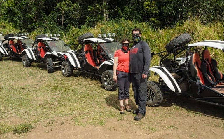 Amber and Chris with Dune Buggies in St Kitts