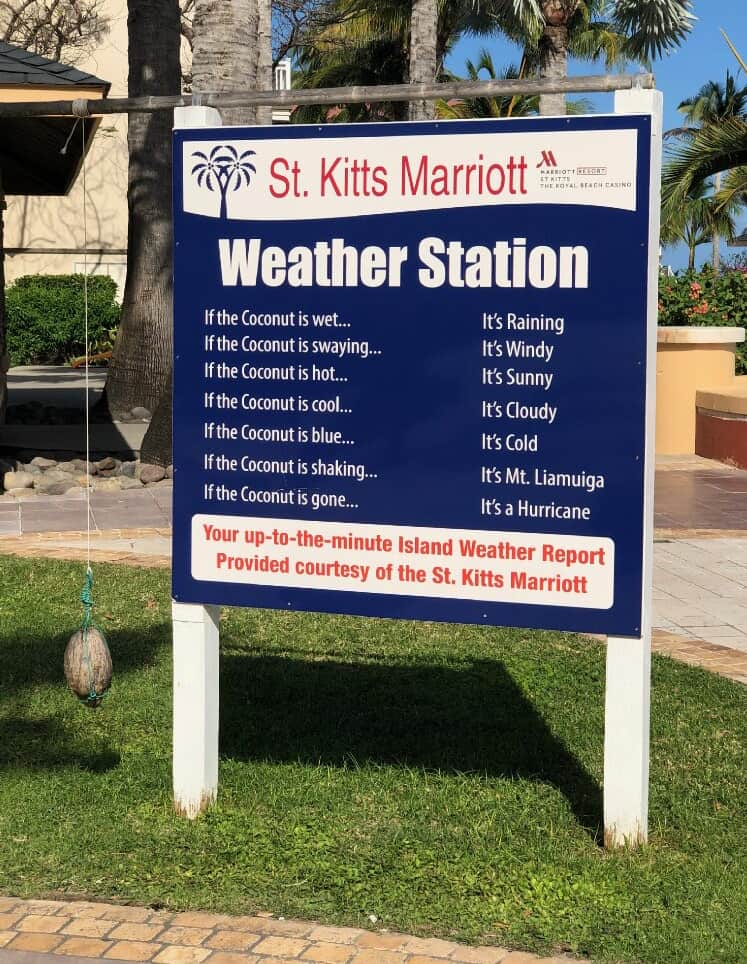 St Kitts Marriott Weather Station - a coconut on a string