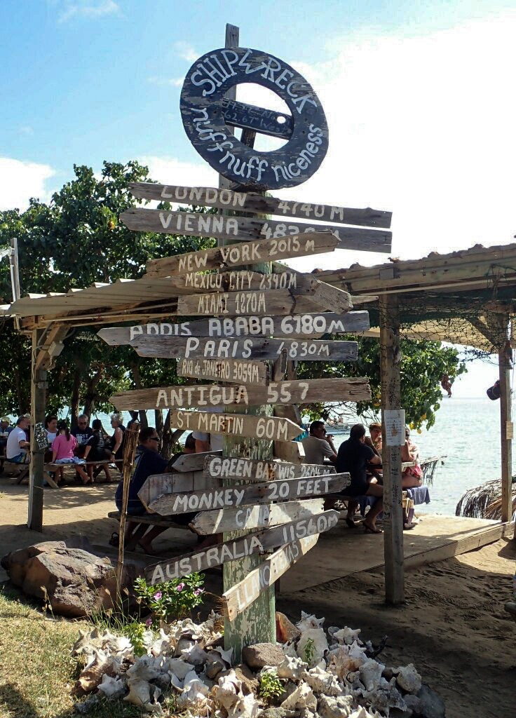 Directional sign at Shipwreck Bar St Kitts