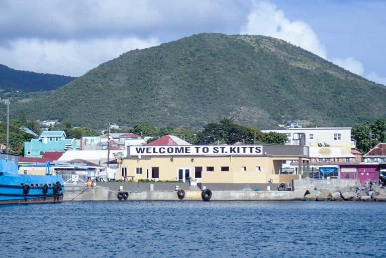 Welcome to St Kitts sign seen from Ferry Boat