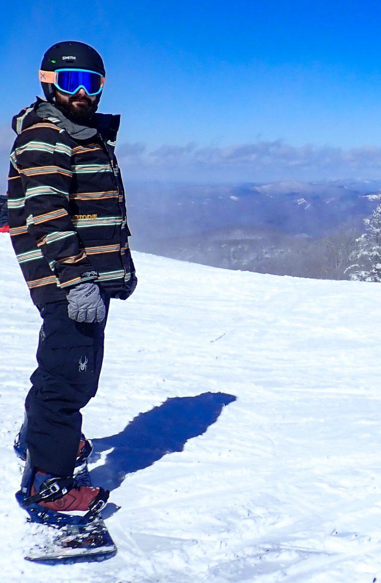 Chris on Snowboard at Beech Mountain