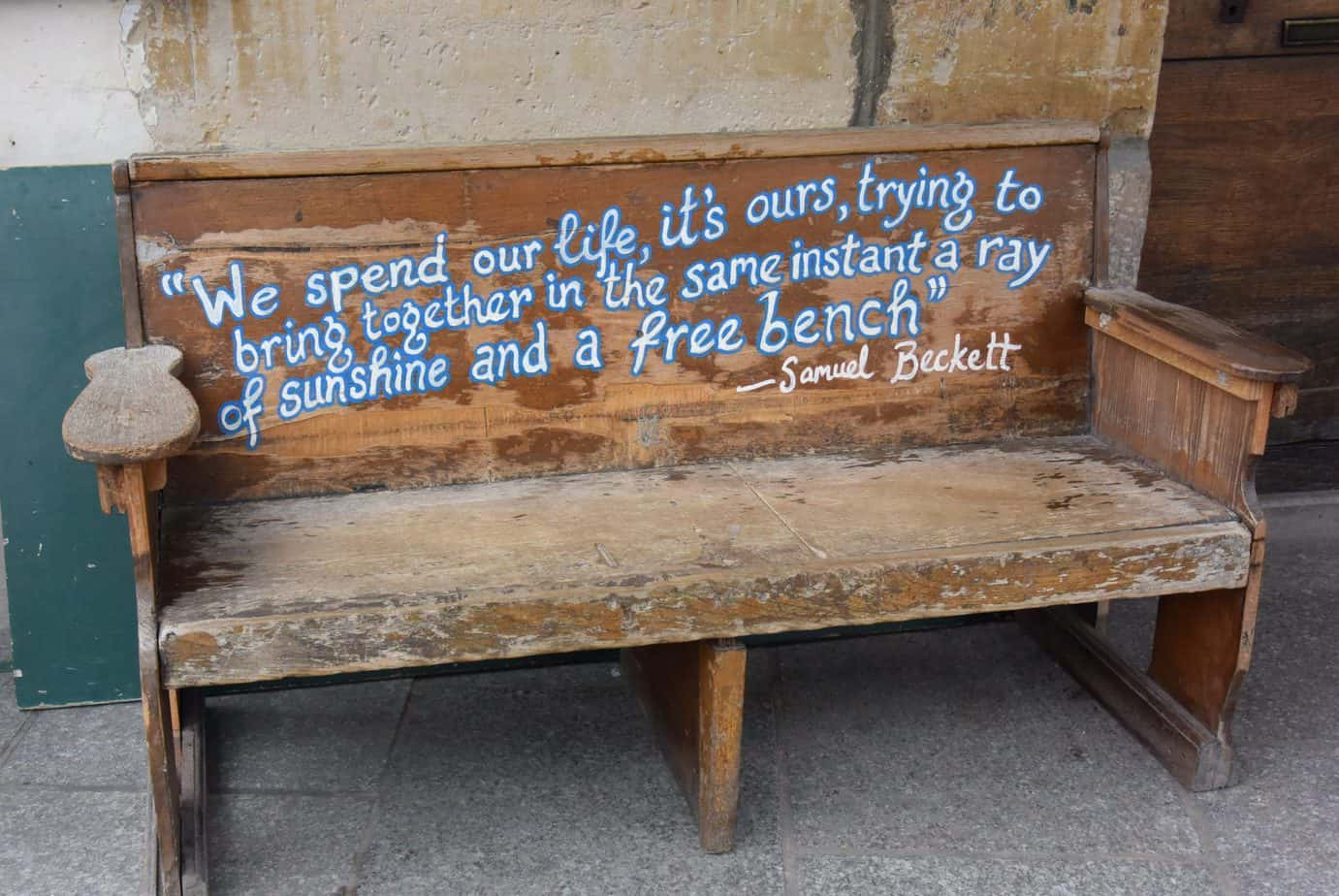 Bench outside of Shakespeare & Co in Paris France