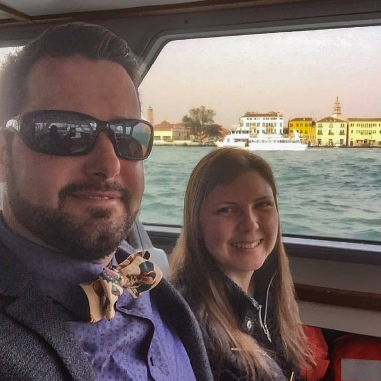 Amber and Chris in a Water Taxi in Venice
