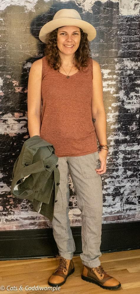 Amber wearing tank top & pants